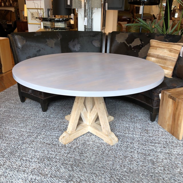 Design Plus Gallery Presents a custom table. Original artisan vintage craftsman pedestal base with a light finish on top...