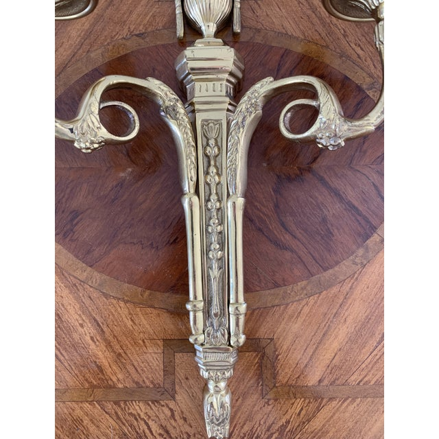 1990s Vintage Brass Neoclassical Style Candle Sconce For Sale - Image 5 of 7