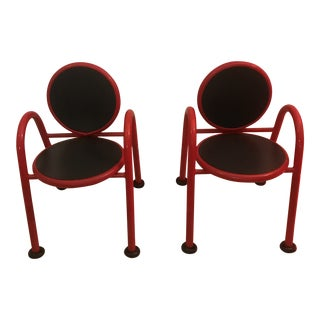 Modern Red and Black Child's Chairs- a Pair For Sale