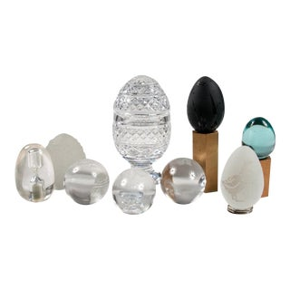 Mid-Century Assorted Glass Egg Gift Set of 9