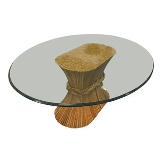 Vintage McGuire Bamboo Base Glass Top Table