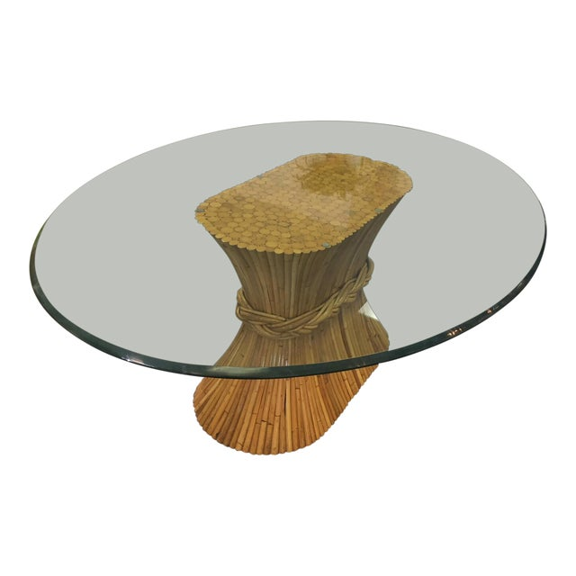Vintage McGuire Bamboo Base Glass Top Table For Sale