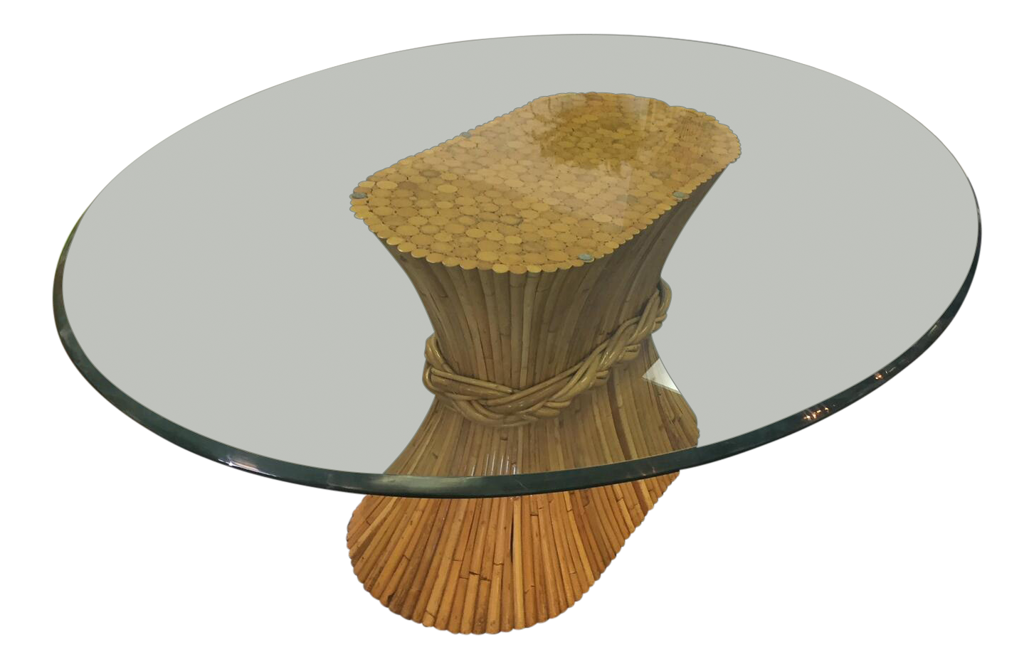 Bon Vintage McGuire Bamboo Base Glass Top Table   Image 1 Of 7