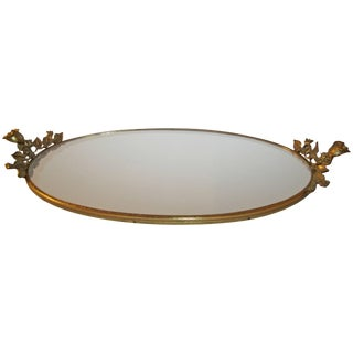 Brass and Mirror Vanity Tray, Ca. 1960s For Sale