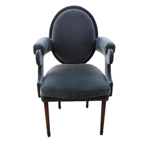 Provence Velvet Arm Chair For Sale