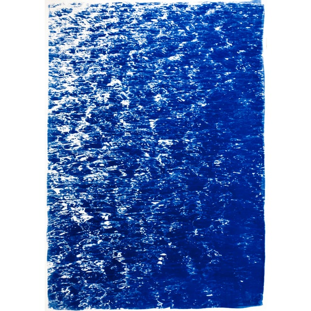"""2010s Triptych """"The Cove"""" / Cyanotype Print on Watercolor Paper / Limited Edition / 100 X 210 CM For Sale - Image 5 of 12"""