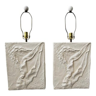 Large Pair of Post Modern Minimalist Plaster Lamps For Sale