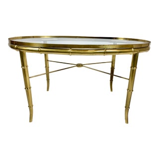 Vintage Hollywood Regency Brass and Glass Mastercraft Coffee Table For Sale