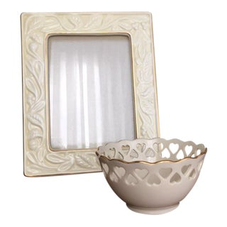 Lenox China Picture Frame and Small Candy Dish - A Pair For Sale