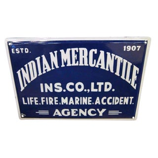 Late 20th Century Vintage Blue & White Indian Mercantile Sign For Sale
