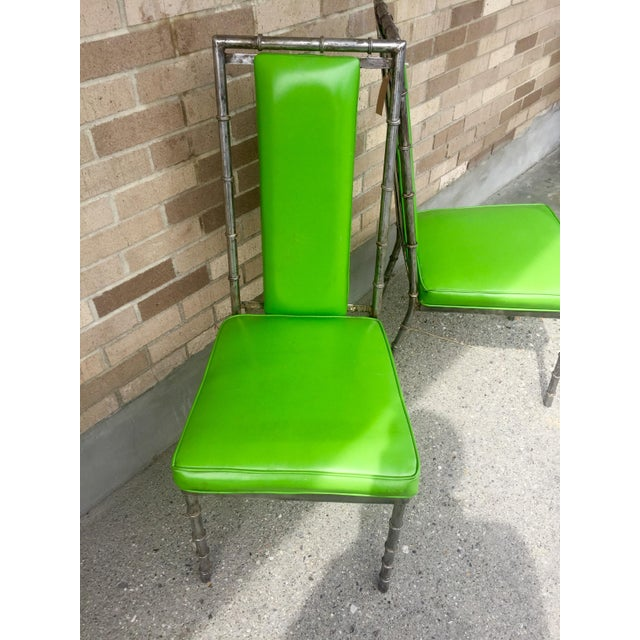 Faux Bamboo Green Metal Chairs - A Pair - Image 3 of 4