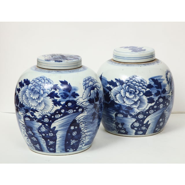 Blue Chinese Export Ginger Jars - A Pair For Sale - Image 8 of 13