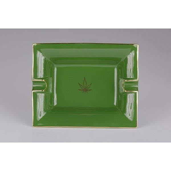 Not Yet Made - Made To Order Casacarta Green Leaf Large Trinket Tray / Ashtray For Sale - Image 5 of 5
