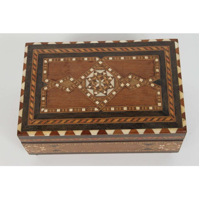 Islamic Spanish Inlaid Marquetry Jewelry Music Box For Sale - Image 3 of 10