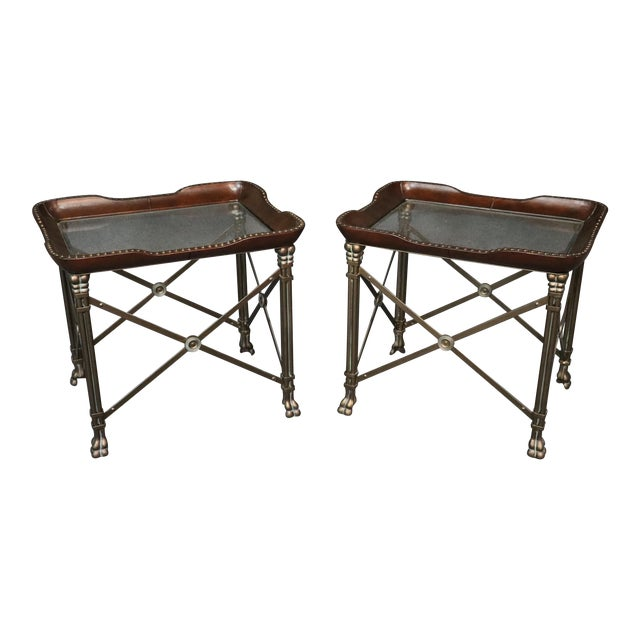 Directoire Style Glass Top End Tables - a Pair For Sale