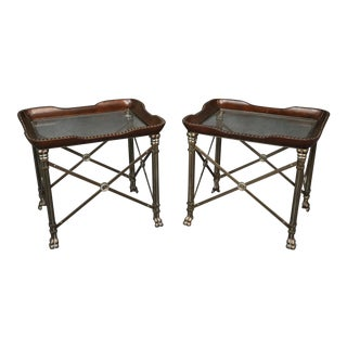 Pair of Directoire Style Glass Top End Tables For Sale