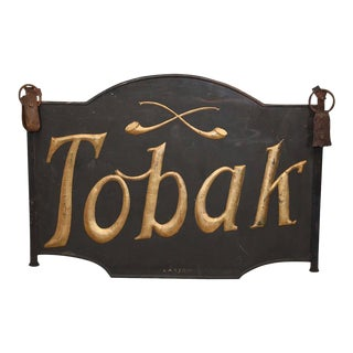 19th C. Danish Iron Tobak Tobacco Sign For Sale