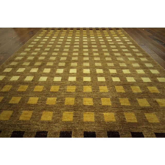 "Gabbeh Checkered Wool Rug - 7'9"" x 9'8"" - Image 7 of 9"