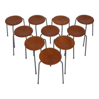 Set of Ten Danish Modern Stools with Wooden Seat