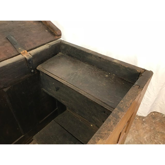 18th Century Primitive Oak Linen Coffer Chest - Image 10 of 13