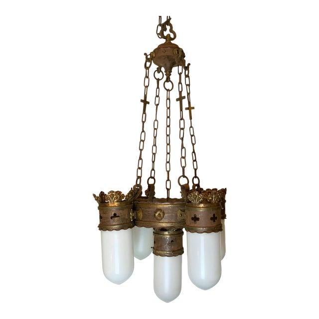 19th Century Gothic 5 Light Pendant Chandelier For Sale