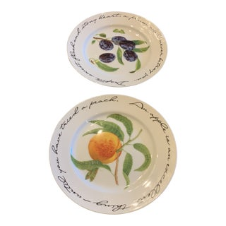 Williams- Sonoma Hand Painted Plates - a Pair For Sale