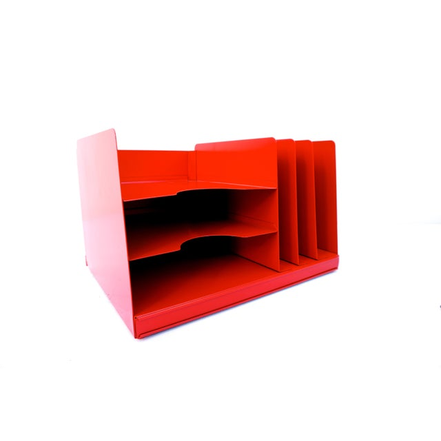 Steelcase Mid-Century Industrial RED Steelcase File Rack For Sale - Image 4 of 9