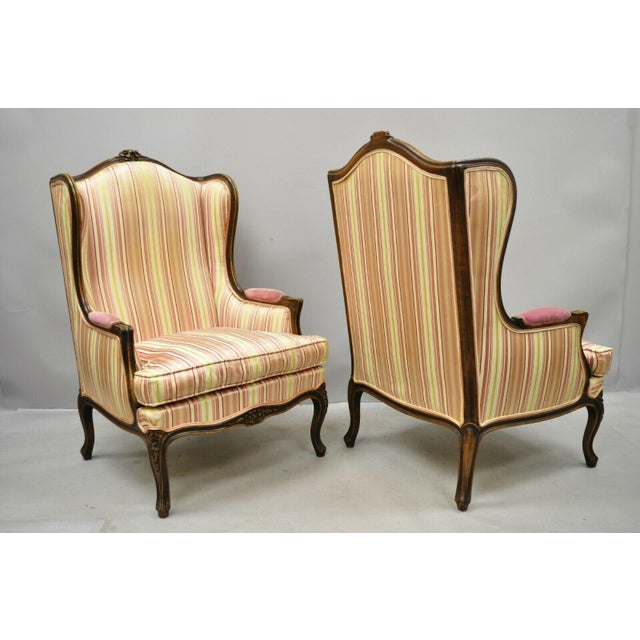 Vintage Mid Century French Louis XV Style Wingback Bergere Armchairs - A Pair For Sale - Image 11 of 12