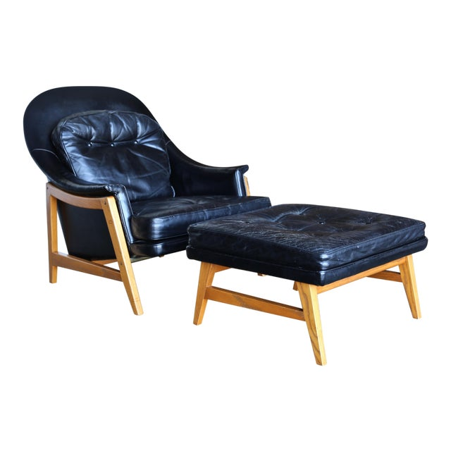 Edward Wormley for Dunbar Leather Lounge Chair and Ottoman Circa 1957 For Sale