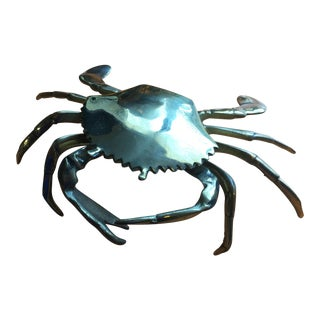 Coastal Brass Crab Ashtray For Sale