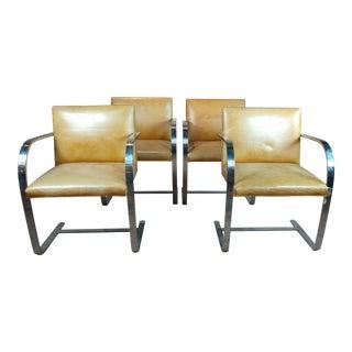 Knoll 1960s Mid-Century Modern Flat Bar Brno Armchairs - Set of 4 For Sale