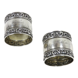 Antique Mother & Father Sterling Silver Napkin Rings - a Pair