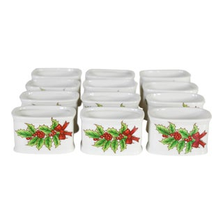 Vintage Porcelain Holidays Christmas Holly Berry Napkin Rings Holders - Set of 12 For Sale