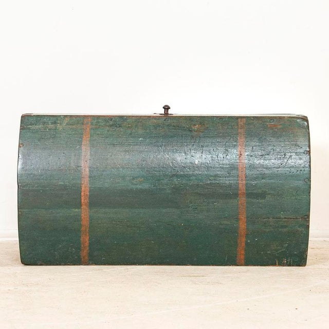 Antique Original Blue Painted Small Trunk Dated 1788 From Sweden For Sale - Image 11 of 13