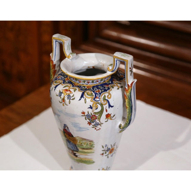 19th Century French Hand-Painted Ceramic Vase With Handles From Rouen Normandy For Sale - Image 9 of 11
