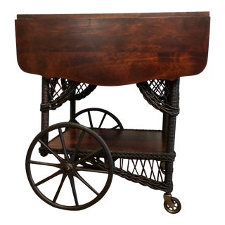 1890's Victorian Heywood Wakefield Wood Drop Leaf Tea Cart For Sale
