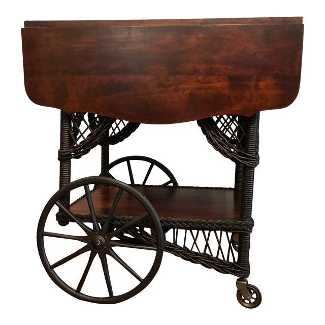 1890's Victorian Heywood Wakefield Wood Drop Leaf Tea Cart For Sale