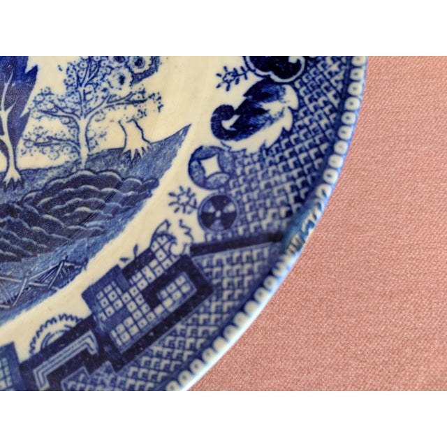 Blue Vintage Blue Willow Pagoda Decorative Platter With Hanger For Sale - Image 8 of 10