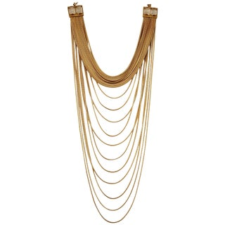Goossens Paris Origines Gilded Brass and Rock Crystal Multi Chain Necklace For Sale