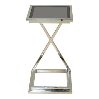 Sarreid Ltd. Morrow Stainless Steel Glass Top Side Table For Sale