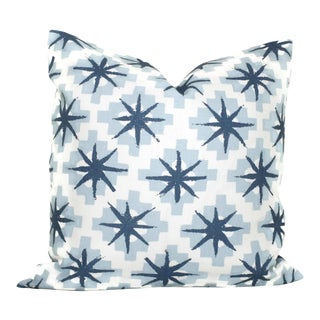 "20"" x 20"" Peter Dunham Blue Stars Decorative Pillow Cover For Sale"