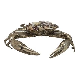 Brass & Shell Crab Sculpture Figure For Sale