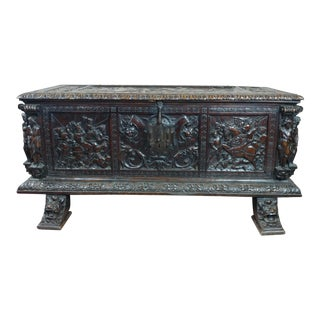 18th Century Highly Carved Italian Renaissance Cassone For Sale