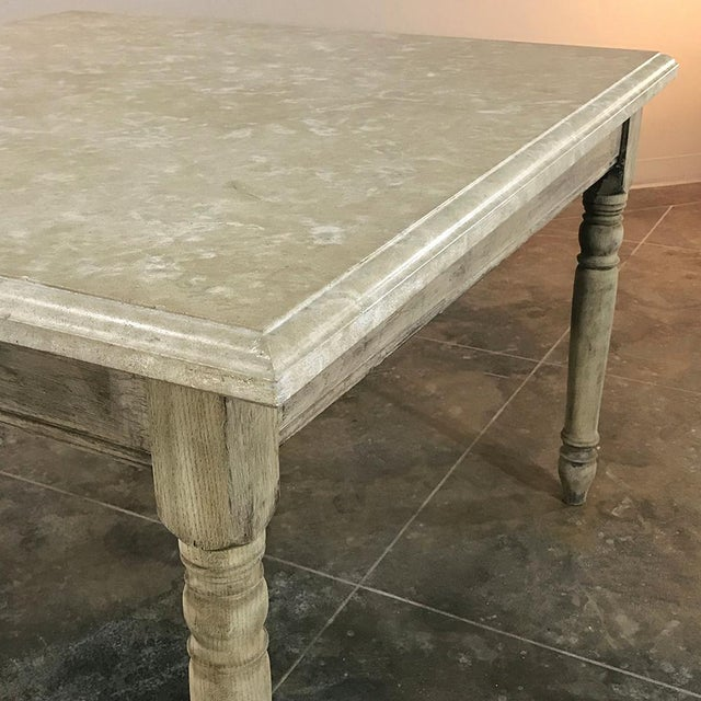 19th Century French Rustic Limestone Top Game Table - Center Table For Sale - Image 9 of 12