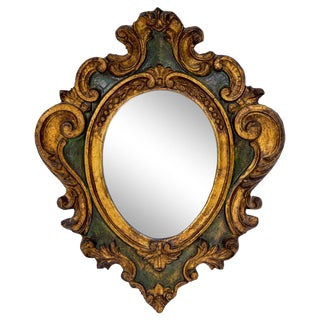 20th Century Italian Green & Gold Wood Oval Mirror