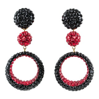 Richard Kerr Dangling Clip on Earrings Black and Red Rhinestones For Sale