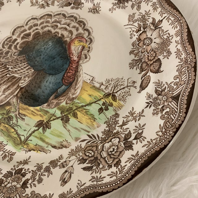 Royal Staffordshire Tonquin Brown Turkey Platter For Sale - Image 9 of 12