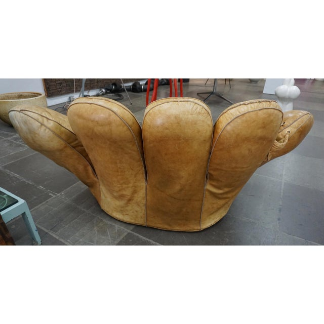 "Mid-Century Modern 1970s Leather Baseball Glove Chair Signed ""JOE"" for Poltronova For Sale - Image 3 of 9"