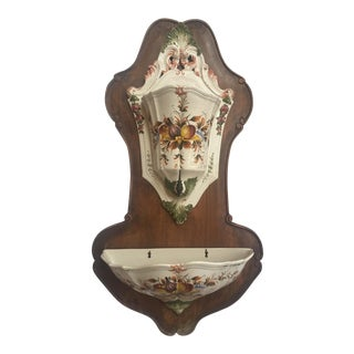 Italian Lavabo, Ceramic Mounted on Wood For Sale