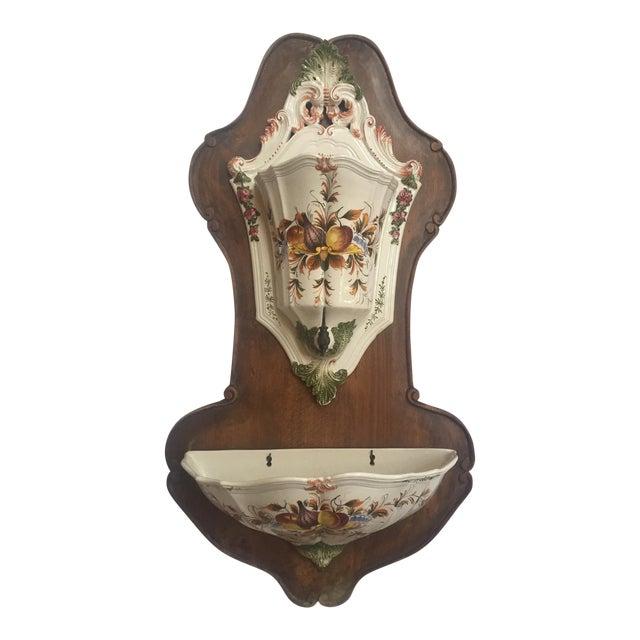 Italian Lavabo, Ceramic Mounted on Wood For Sale